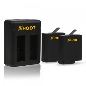 Комплект Зарядное устройство двойное + два аккумулятора GoPro HERO5/6/2018/7 Black (Shoot)