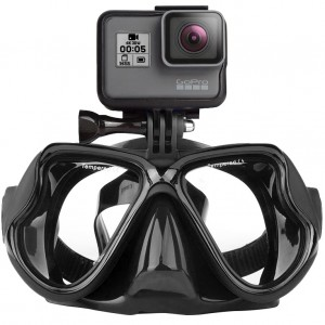 Маска для дайвинга с креплением для экшн-камеры GoPro, Sjcam, Xiaomi yi (Чёрная)