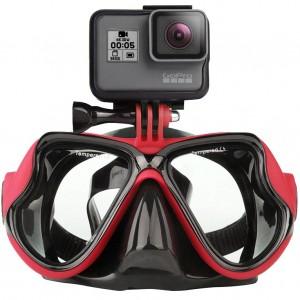 Маска для дайвинга с креплением для экшн-камеры GoPro, Sjcam, Xiaomi yi (Красная)
