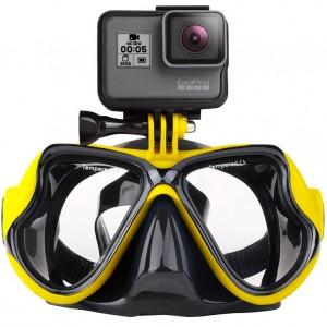 Маска для дайвинга с креплением для экшн-камеры GoPro, Sjcam, Xiaomi yi (Жёлтая)